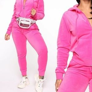 Fashion nova Pink velvet tracksuit